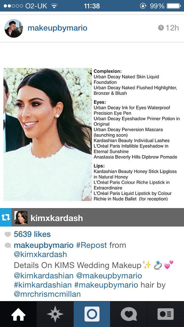 Kim kardashian wedding makeup details- interesting to see he used drugstore makeup as well!
