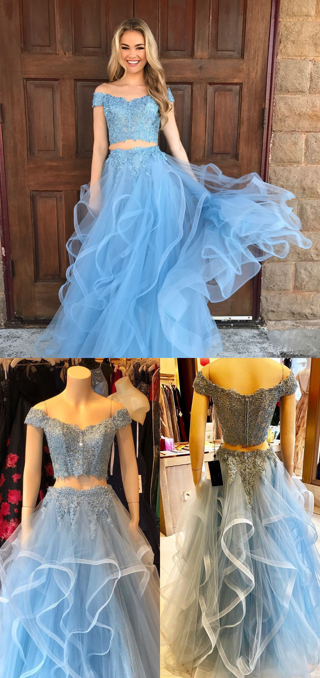 Off the shoulder two piece long prom dress blue long prom