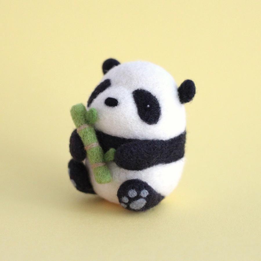 Needle Felted Panda holding Bamboo