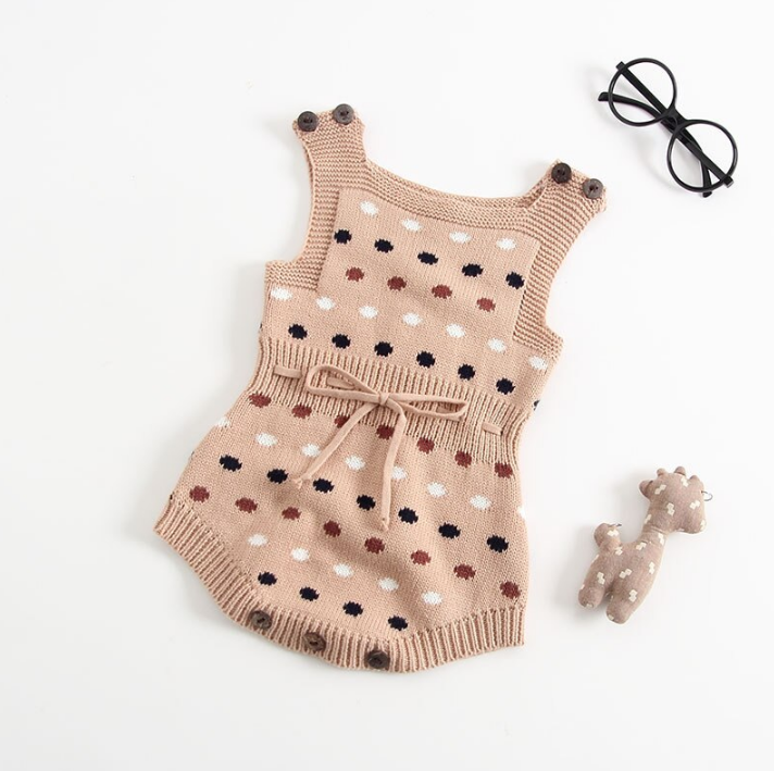 UK Toddler Baby Boys Girls Knit Clothes Polka Dot Sweater Romper Bodysuit Outfit