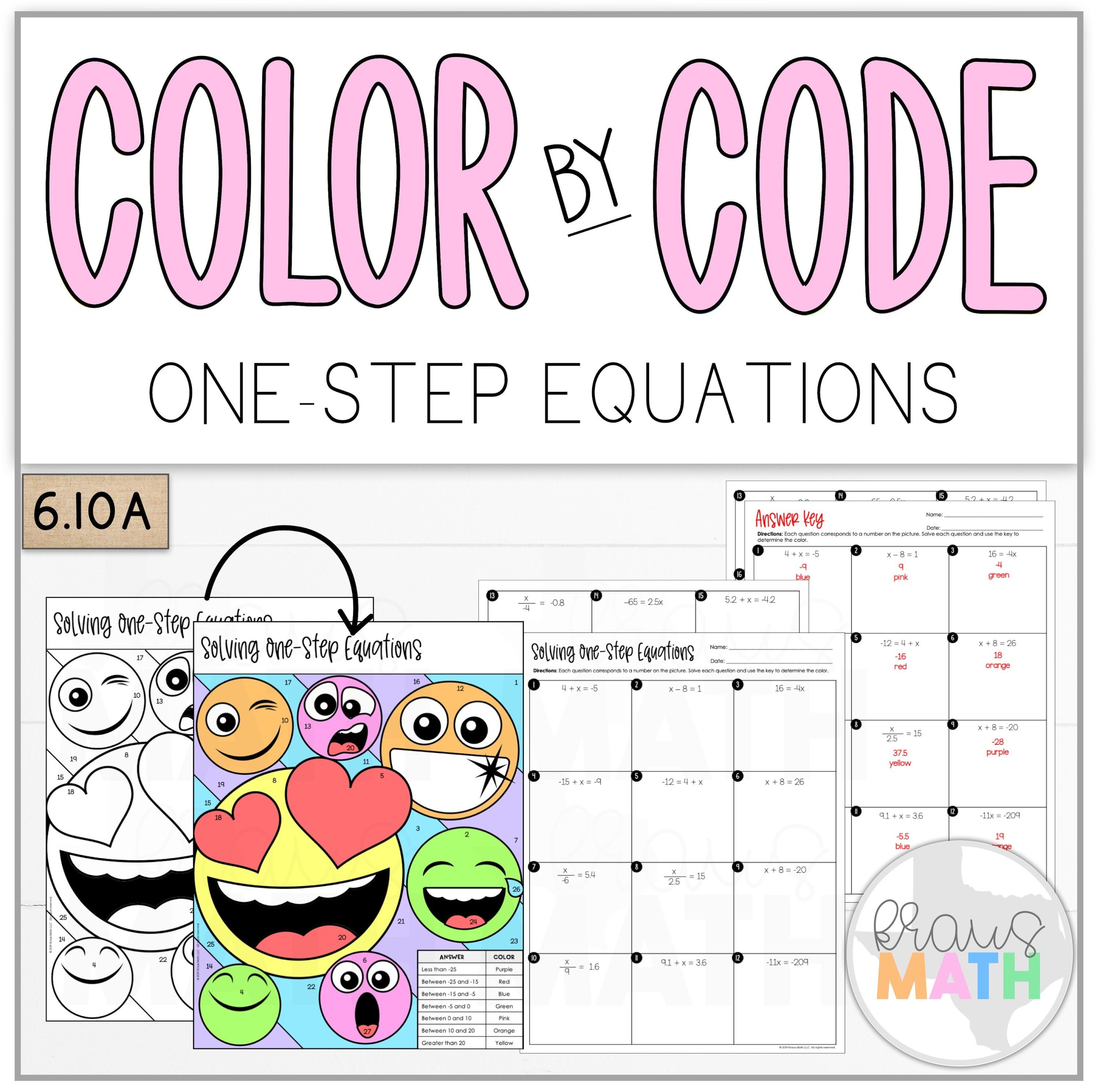 Color By Number Emoji Solving One Step Equations Teks 6