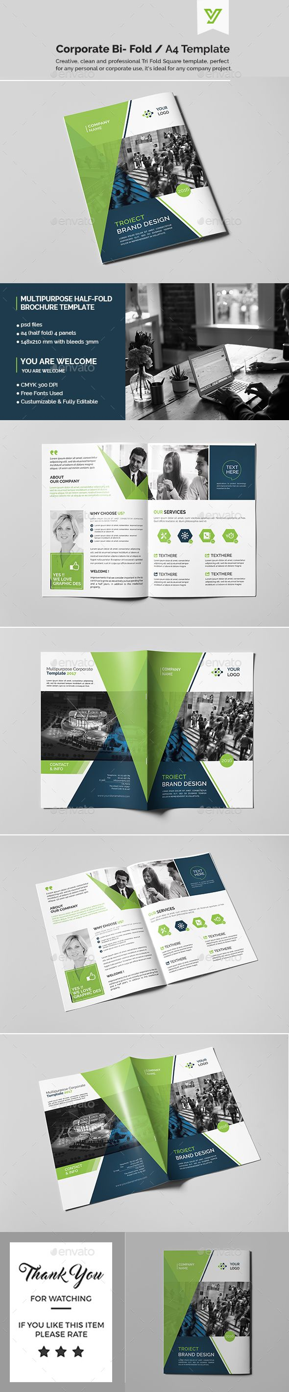 corporate corporate bi fold brochure template