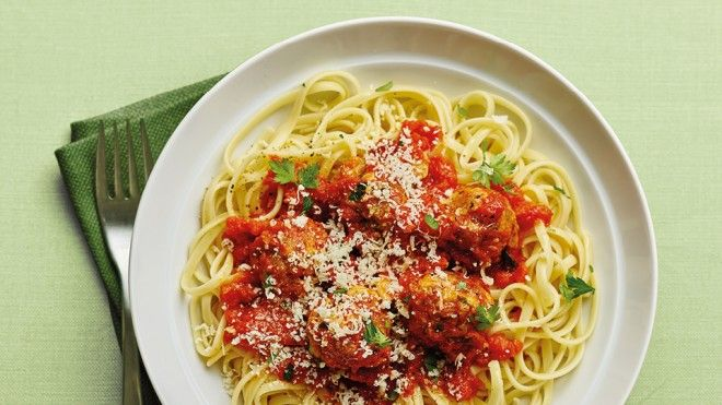 Herby Pork meatballs with linguine