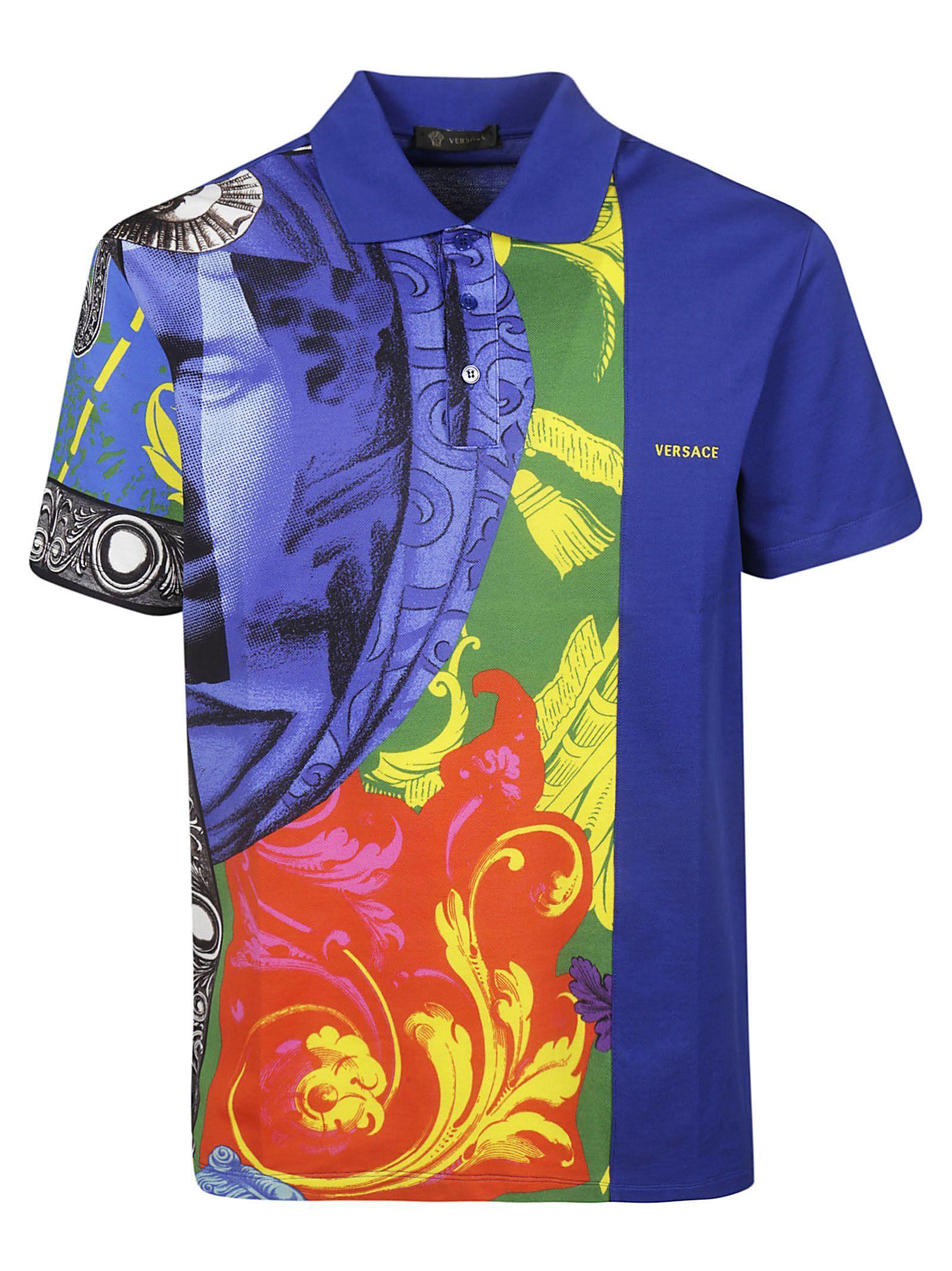Men S Short Sleeve T Shirt Polo Collar Grecia In Blue Men Short Sleeve Versace Men Polo Shirt