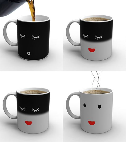 The morning mug! Goes from sleeping to awake when pouring your coffee.