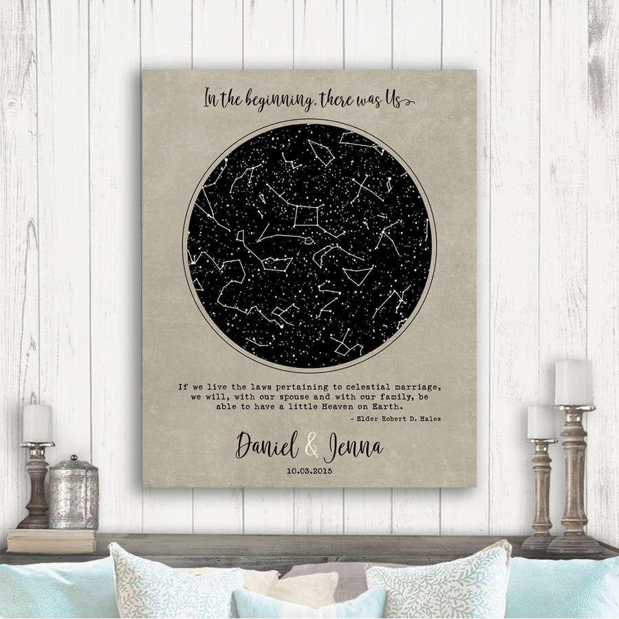 CUSTOM Printable Star MapNight Sky Map Constellation PrintWedding Gift BLK