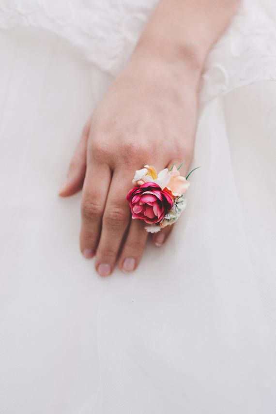 Flower Ring Floral Ring Handmade Jewelry Wedding Floral Accessories Ring Floral Accessories Flower Accessories Romantic Wedding Rings