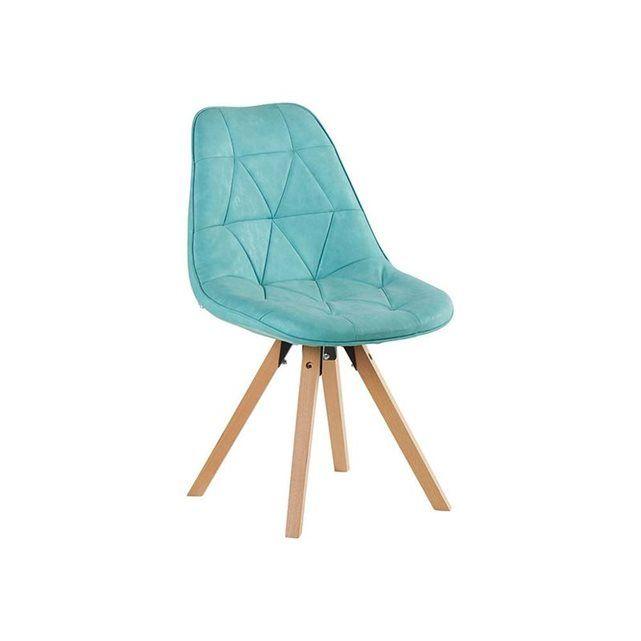lot de 2 chaises esprit scandinave tony bleu - Chaise Fauteuil Scandinave
