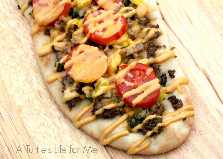 Cheeseburger Flatbread- A Turtle's Life for Me