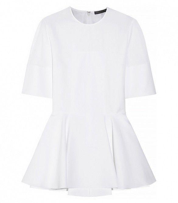 Alexander McQueen Cotton-Poplin Peplum Top in White