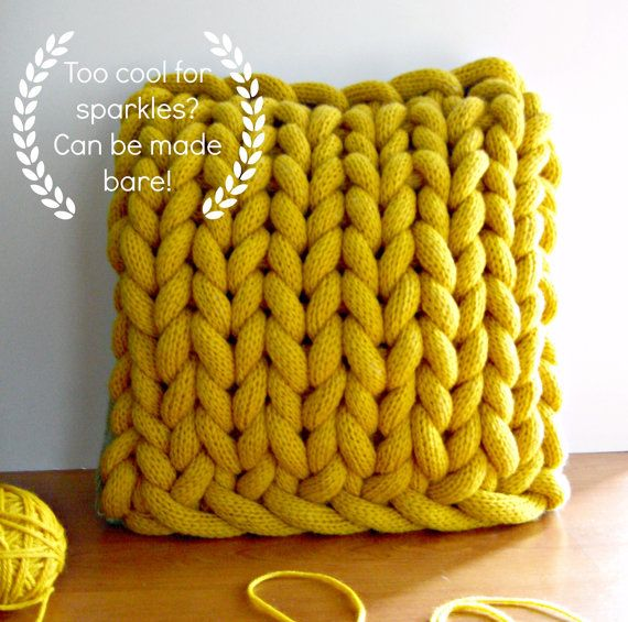 Chunky Knitted Cushion Giant Yellow Knit By Themonsterslounge Crea