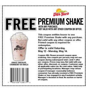 Del Taco Printable Coupon Free Shake W Any Purchase Del Taco Printable Coupons Free Printable Coupons