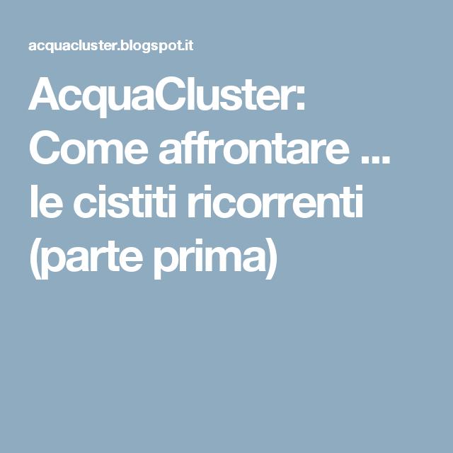 AcquaCluster: Come affrontare ... le cistiti ricorrenti (parte prima)