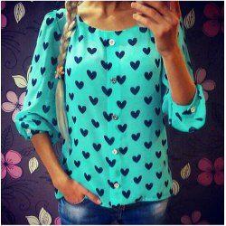 Sweet Scoop Neck Heart Print Long Sleeve Blouse For Women