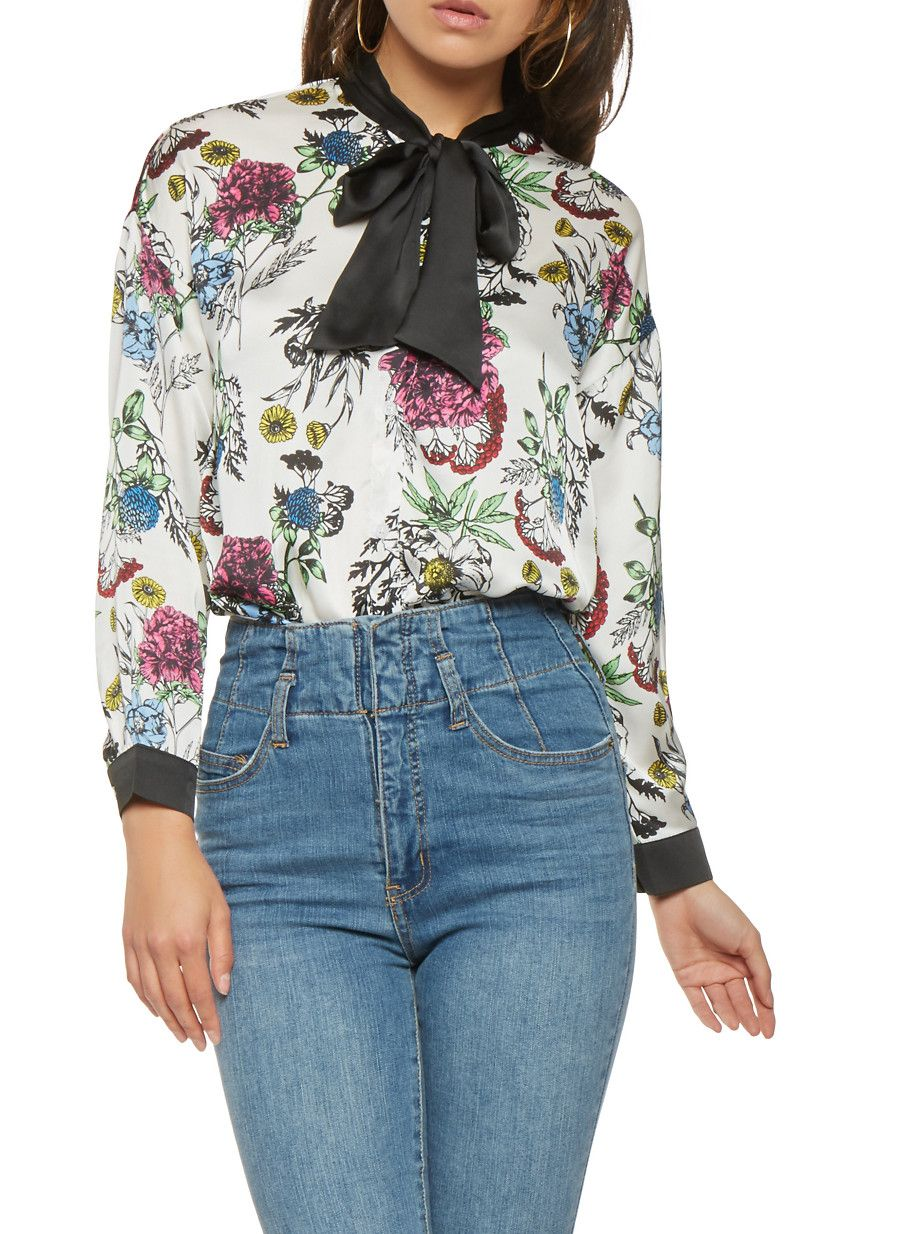 d69b680db42ae1 Floral Satin Button Front Shirt