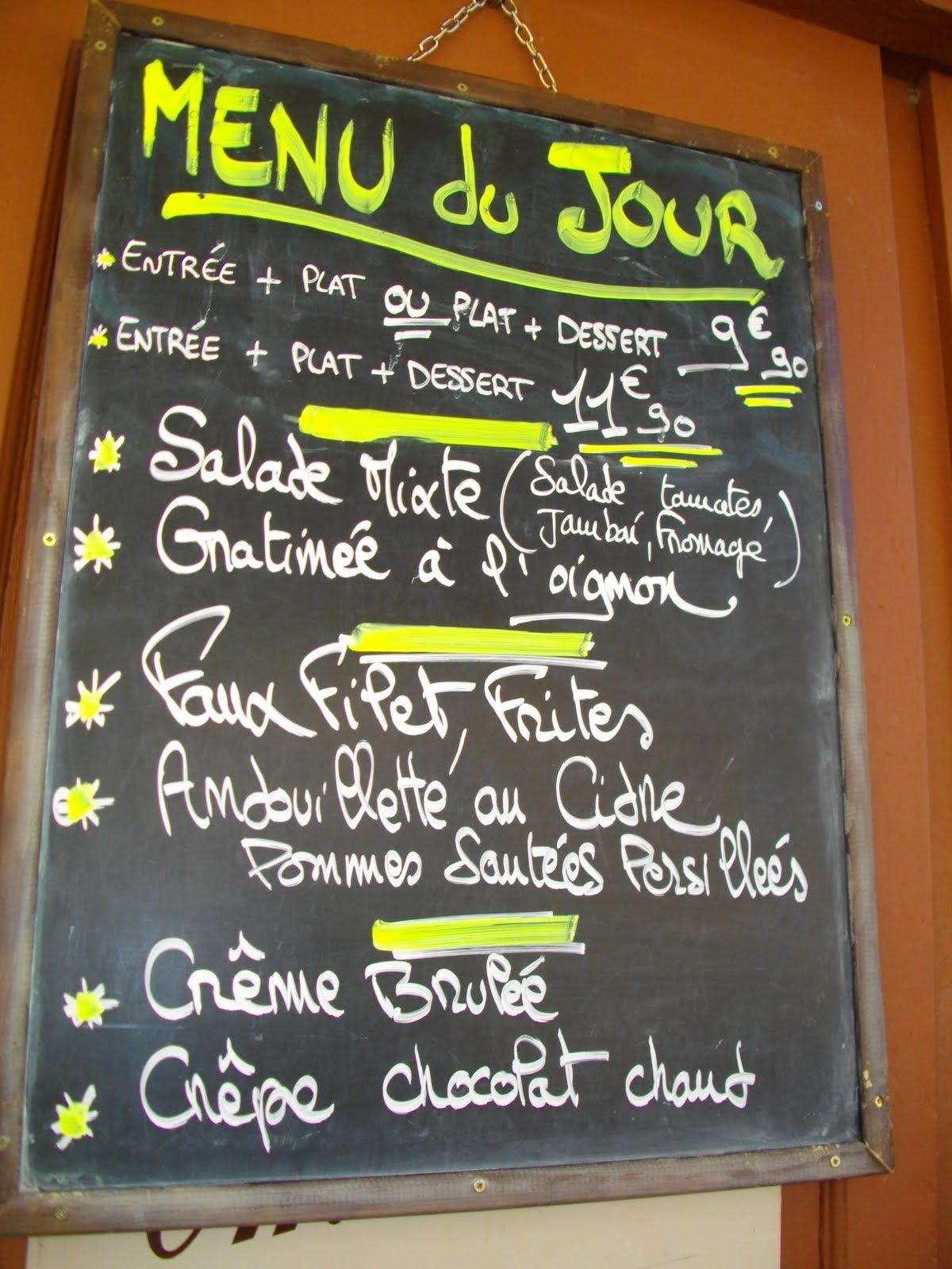 Menu Du Jour  FrenchFood    Menu French Class And