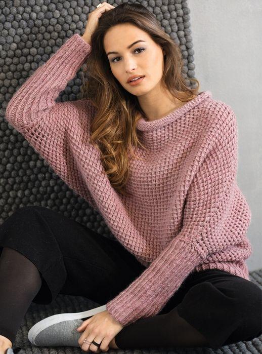 Вязаные свитера спицами женские 18