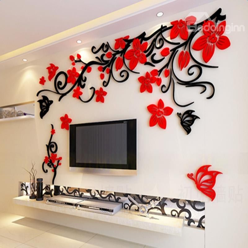 fabulous acrylic three dimensional flower and butterfly on wall stickers for home id=67653