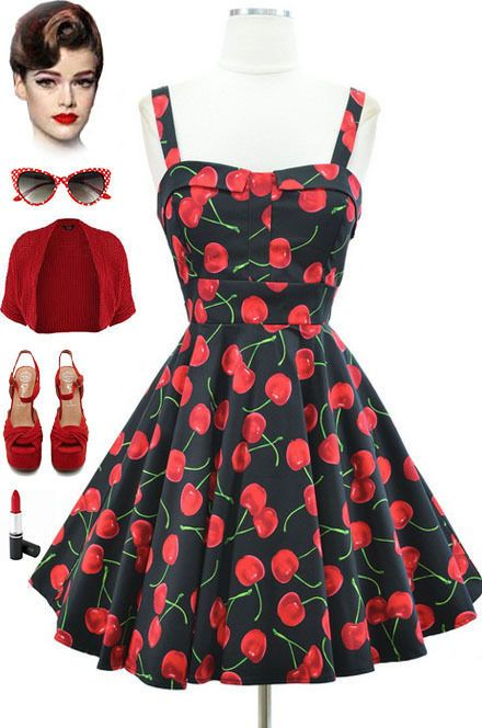 "50s Style *PLUS SIZE* PINUP BLACK CHERRY Bombshell ""PULL UP A CHERRY"" Sun Dress"