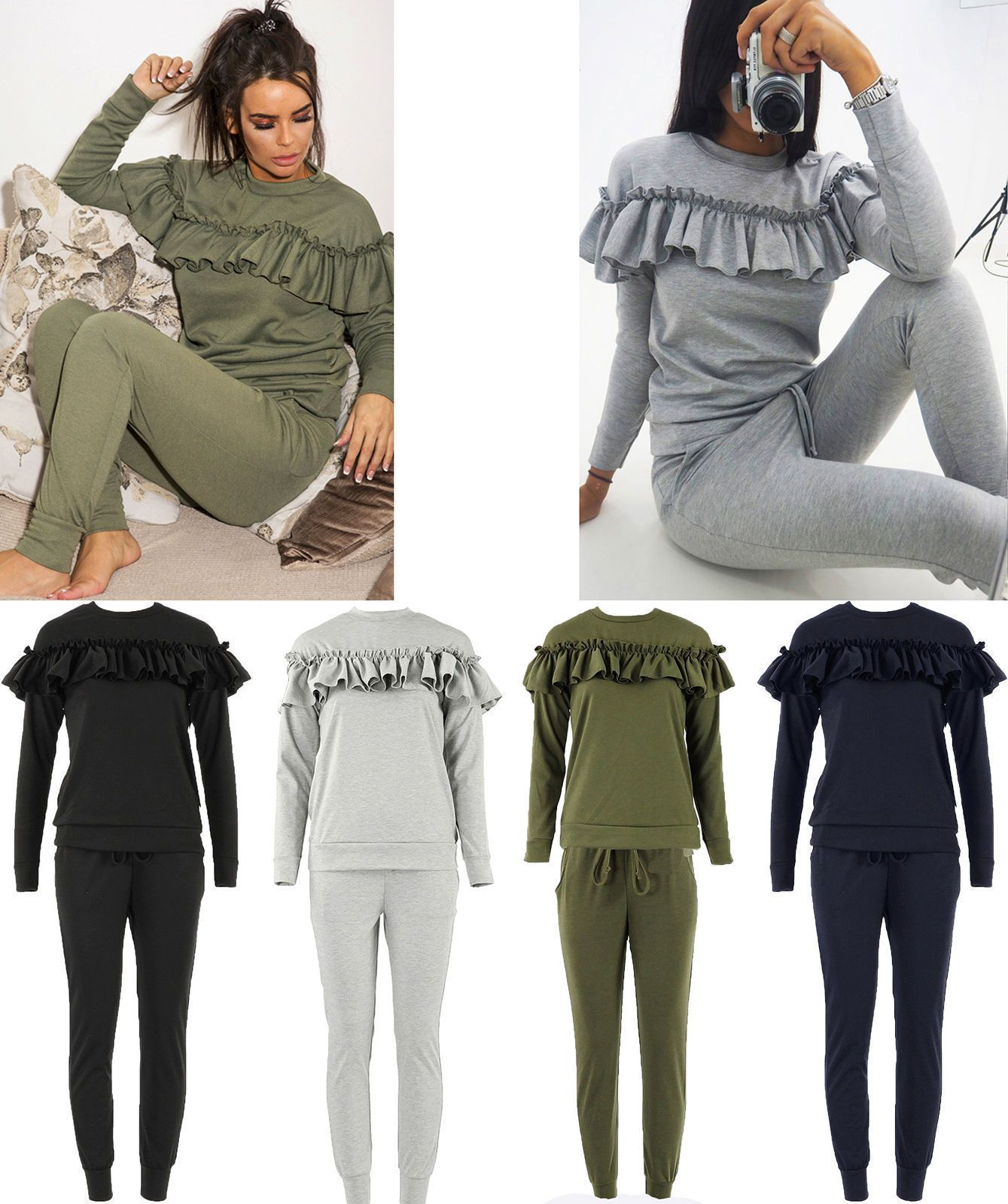 Femme mesdames ruffle frill detail top /& bottom jogger lounge wear set survêtement