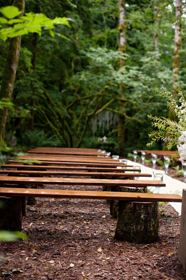 decorating ideas for outside wedding ceremony%0A RusticWoodBenchesWeddingCeremony