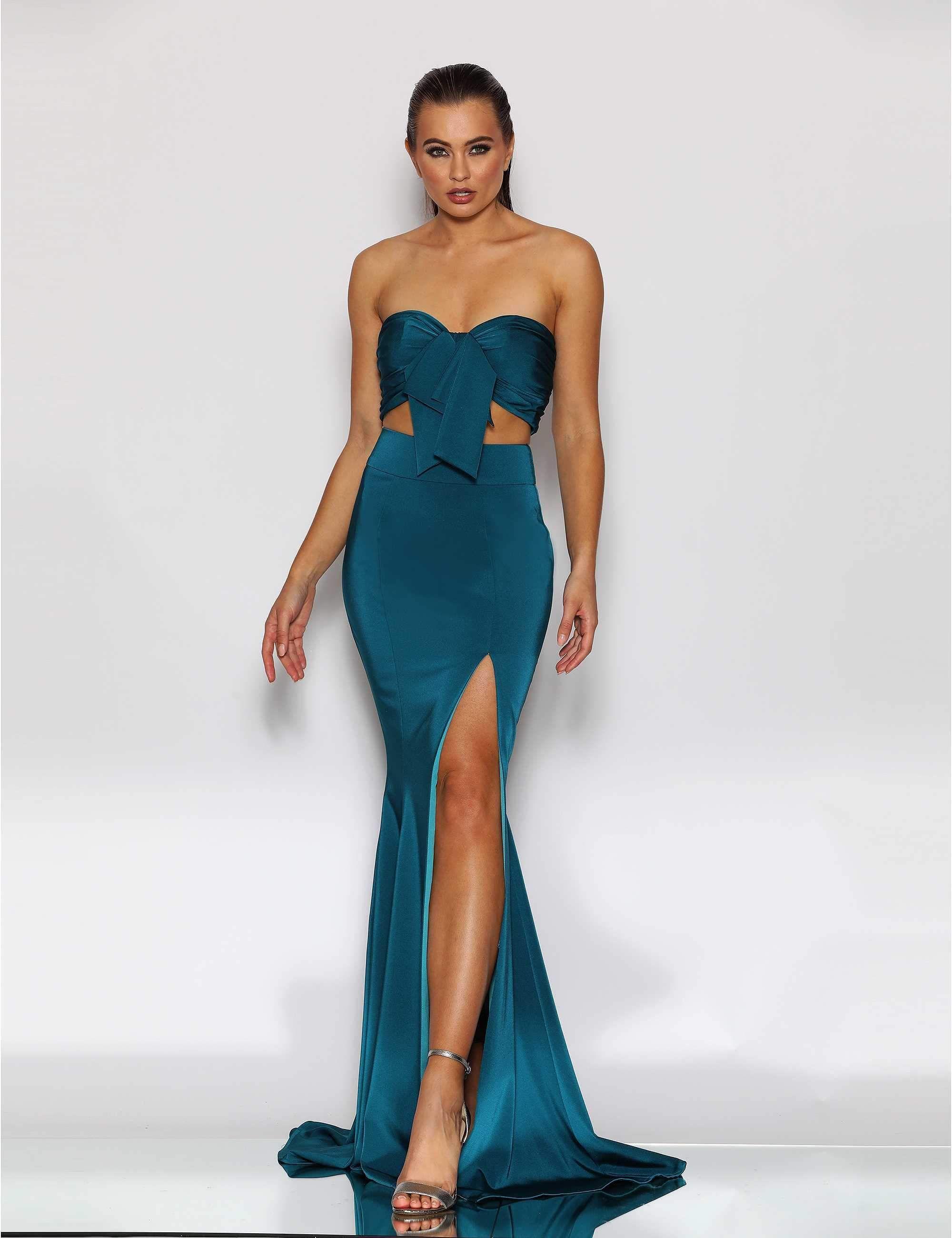 Jadore jx2043 teal tie up 2 piece set mermaid formal dress