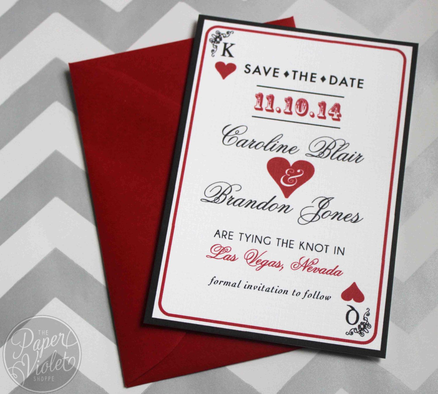 Las Vegas Save the Date Casino theme Save by ThePaperVioletShoppe