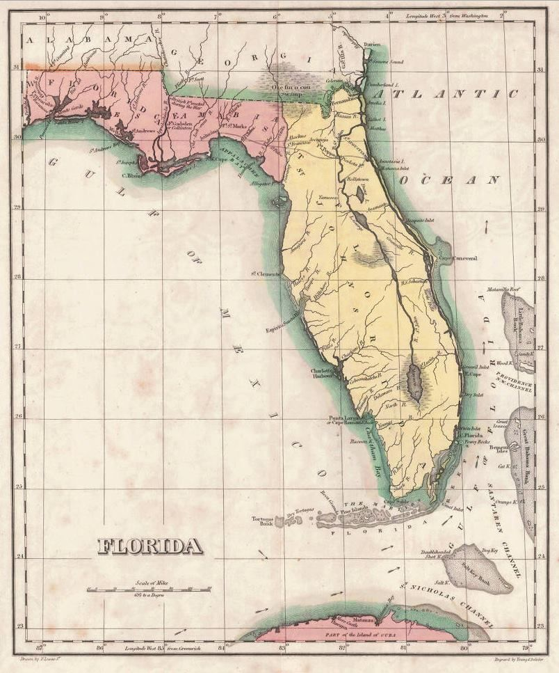 This 1821 map shows how Florida and West Florida were once defined ...