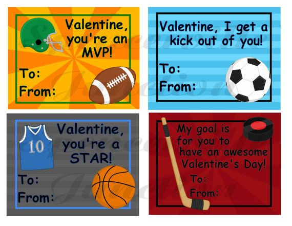 Personalized Sports Valentines Day Tags Soccer Baseball – Sports Valentines Day Cards