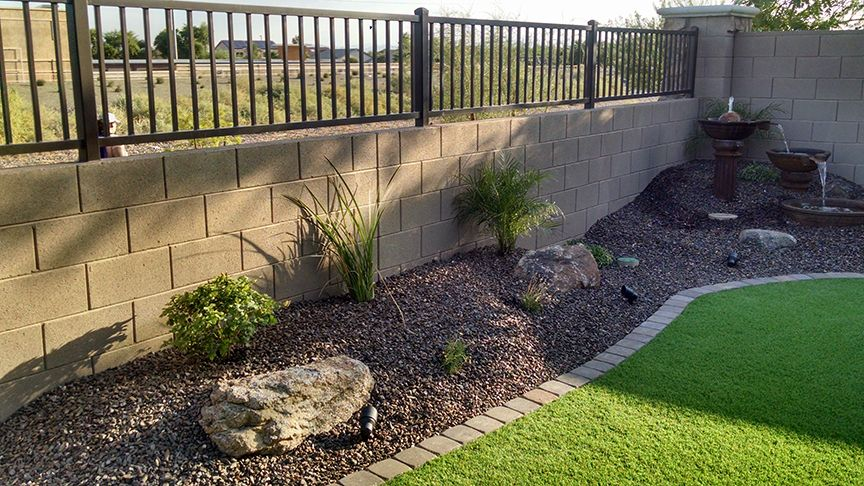 Small backyard synthetic lawn arizona living landscape for Backyard low maintenance landscaping ideas