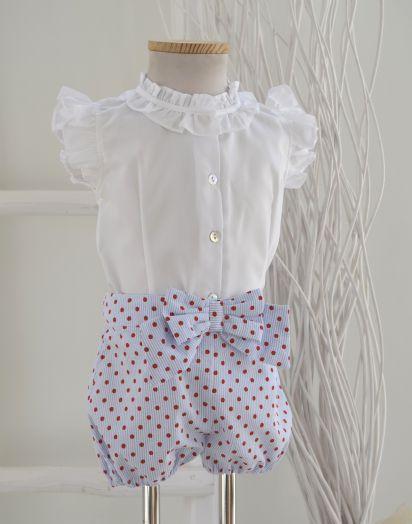 92fa4e133 Conjunto de Foque para niña. Blusa y short. P-V | CONJUNTO DE BLUSA ...