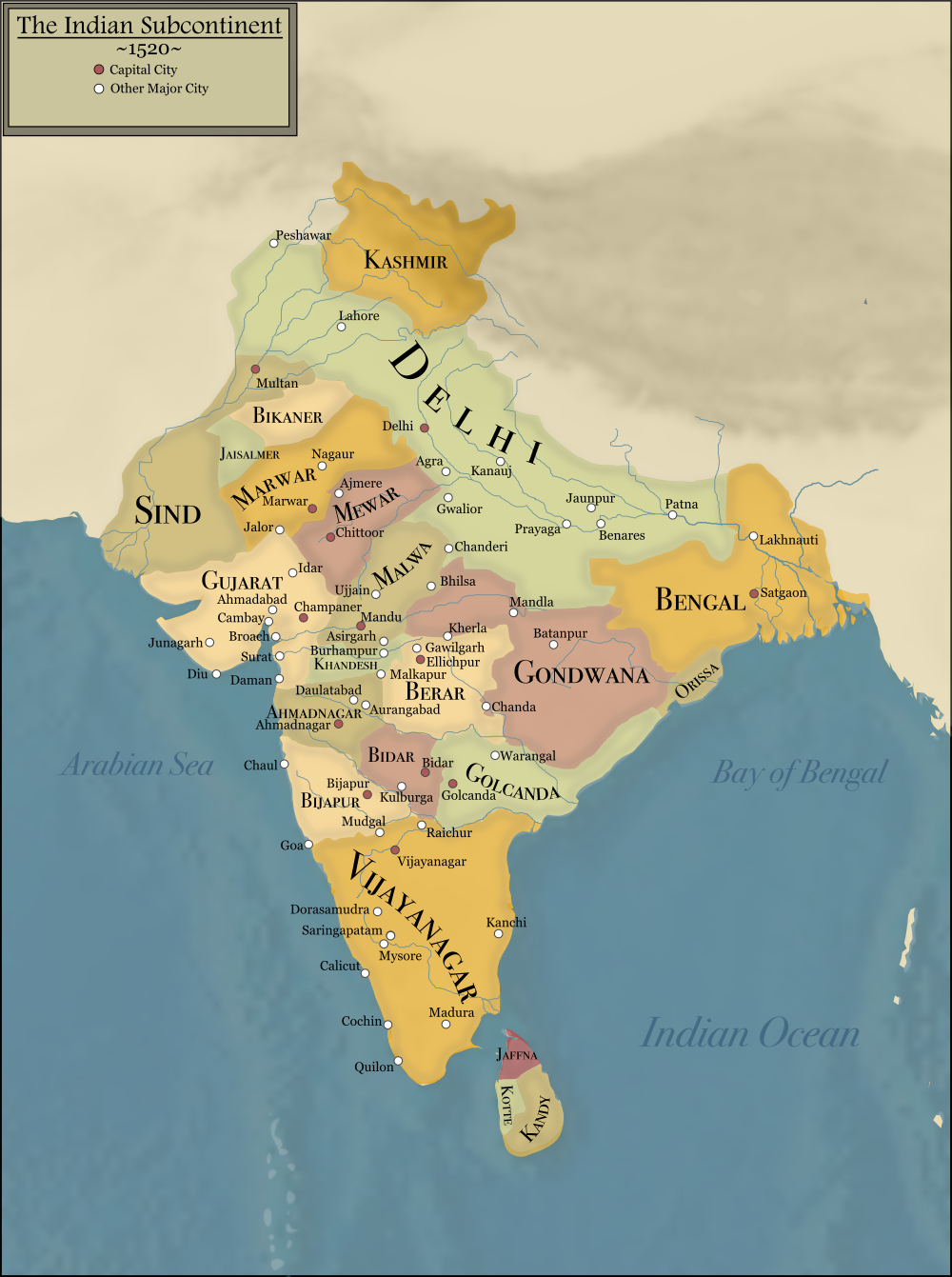 Indian Subcontinent In 1520 Historical Warriors India Map [ 1341 x 1000 Pixel ]