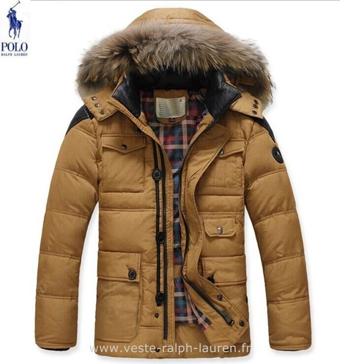 Polo officiel - Ralph Lauren doudoune fourrure pas cher collier hommes mode  americains brun Doudoune Sans