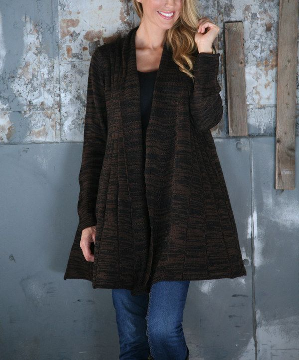 Look at this Ananda's Collection Black & Heather Brown Pleated Open Cardigan on #zulily today!