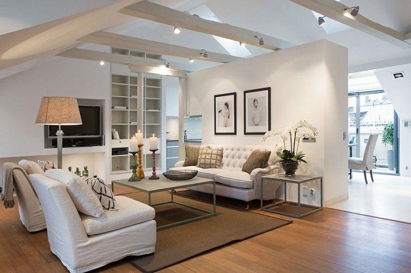 Scandinavian Design An Elegant Attic By Karlaplan Loft Design Home Living Room Modern Living Room Interior