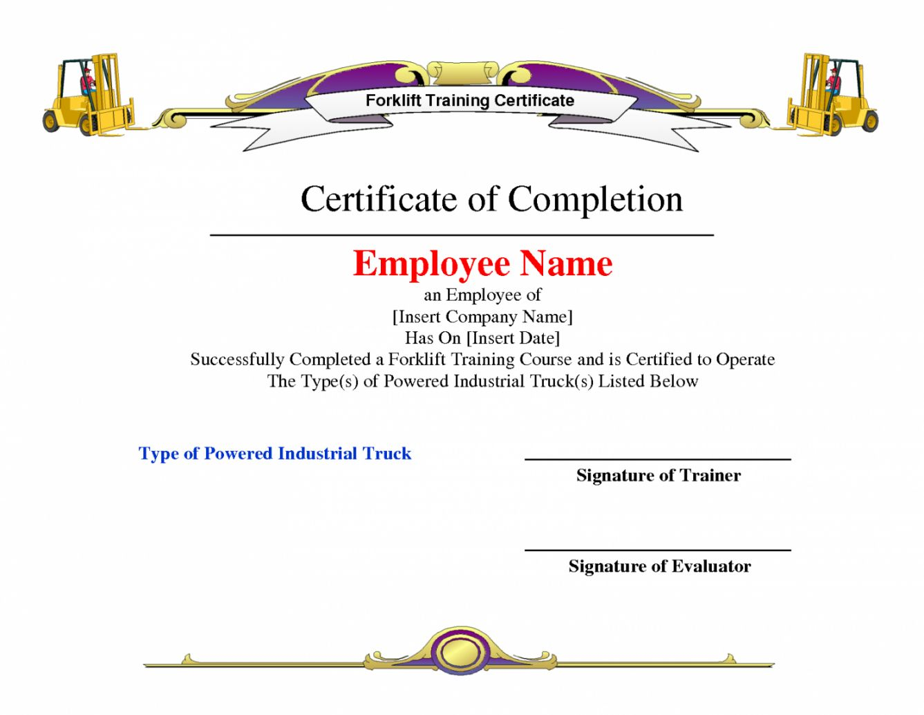 Explore Our Example Of Forklift Certification Certificate Template Training Certificate Certificate Templates Certificate Of Completion Template