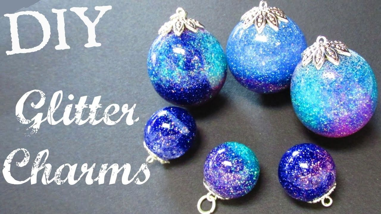Glitter charms diy resin sphere resin jewelry diy