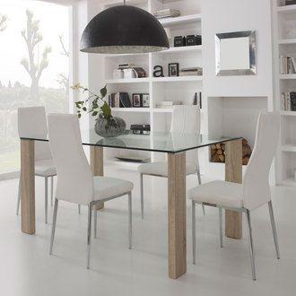 Table A Manger En Verre Avec Pied Bois Longueur 150cm Grays Port