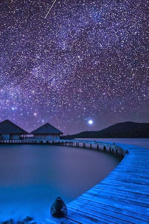 Night Time In Bora Bora Dream Vacations Beautiful Places Places Around The World