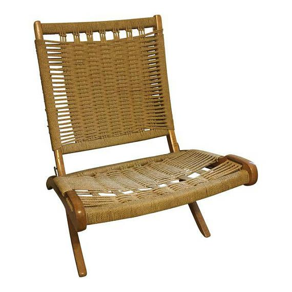 Hans Wegner Style Folding Rope Chair Mid Century Modern Chair Accent Chairs Rope Chair