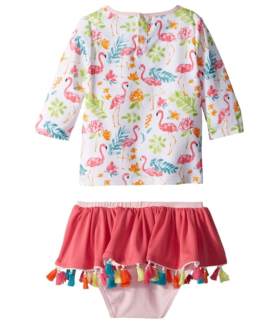 faefc142cff2a0 Mud Pie Floral Flamingo Rashguard Two-Piece Swimsuit (Toddler) Girl's  Swimwear Sets White