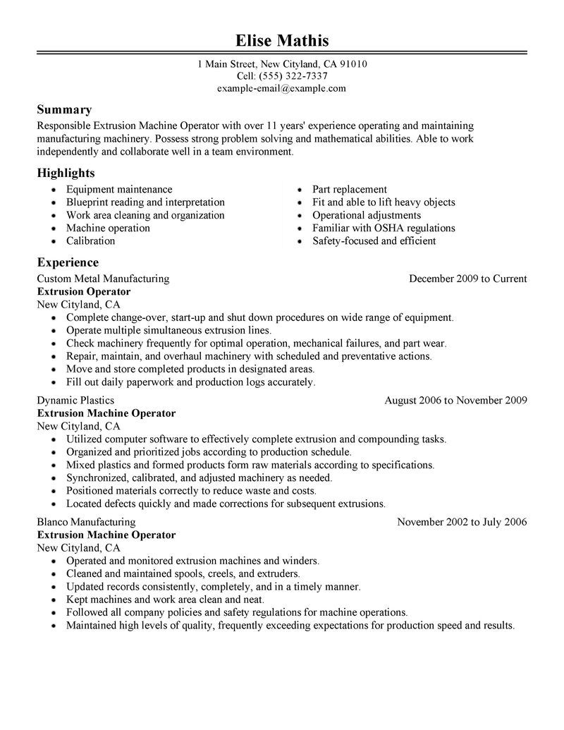 Sample Resume For Warehouse Forklift Operator Worker Job
