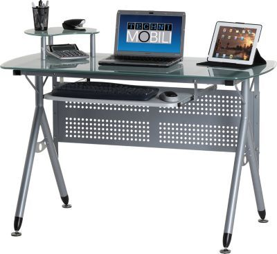 staples has the frosted glass top computer desk you need for home - Glass Top Computer Desk