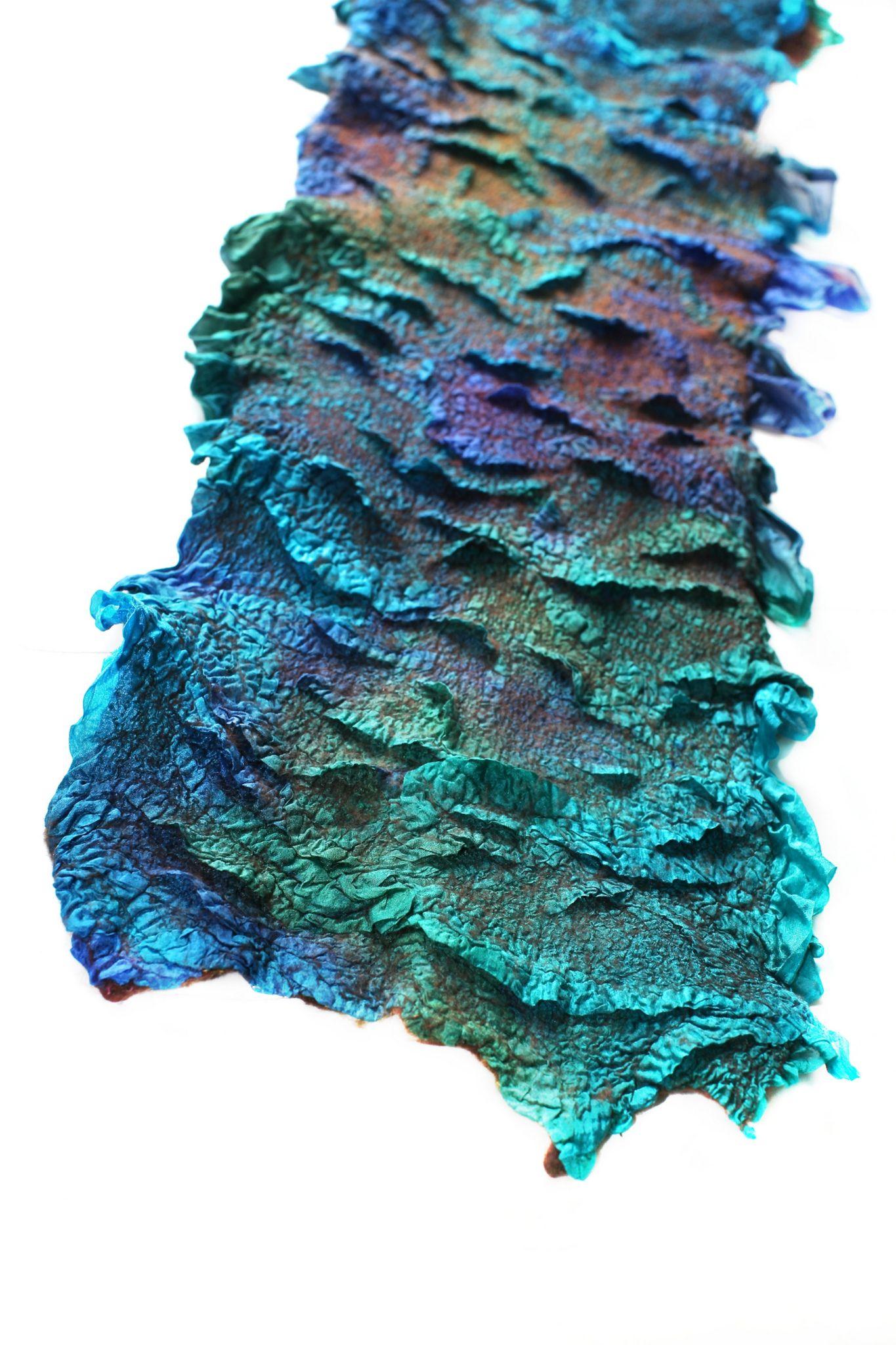 "Nuno Felted Textured Scarf | Superfine Australian merino wool, silk fabric. Length 55 "" (140 cm) Width 8 2/3 "" (22 сm) https://flic.kr/p/ozSidJ"