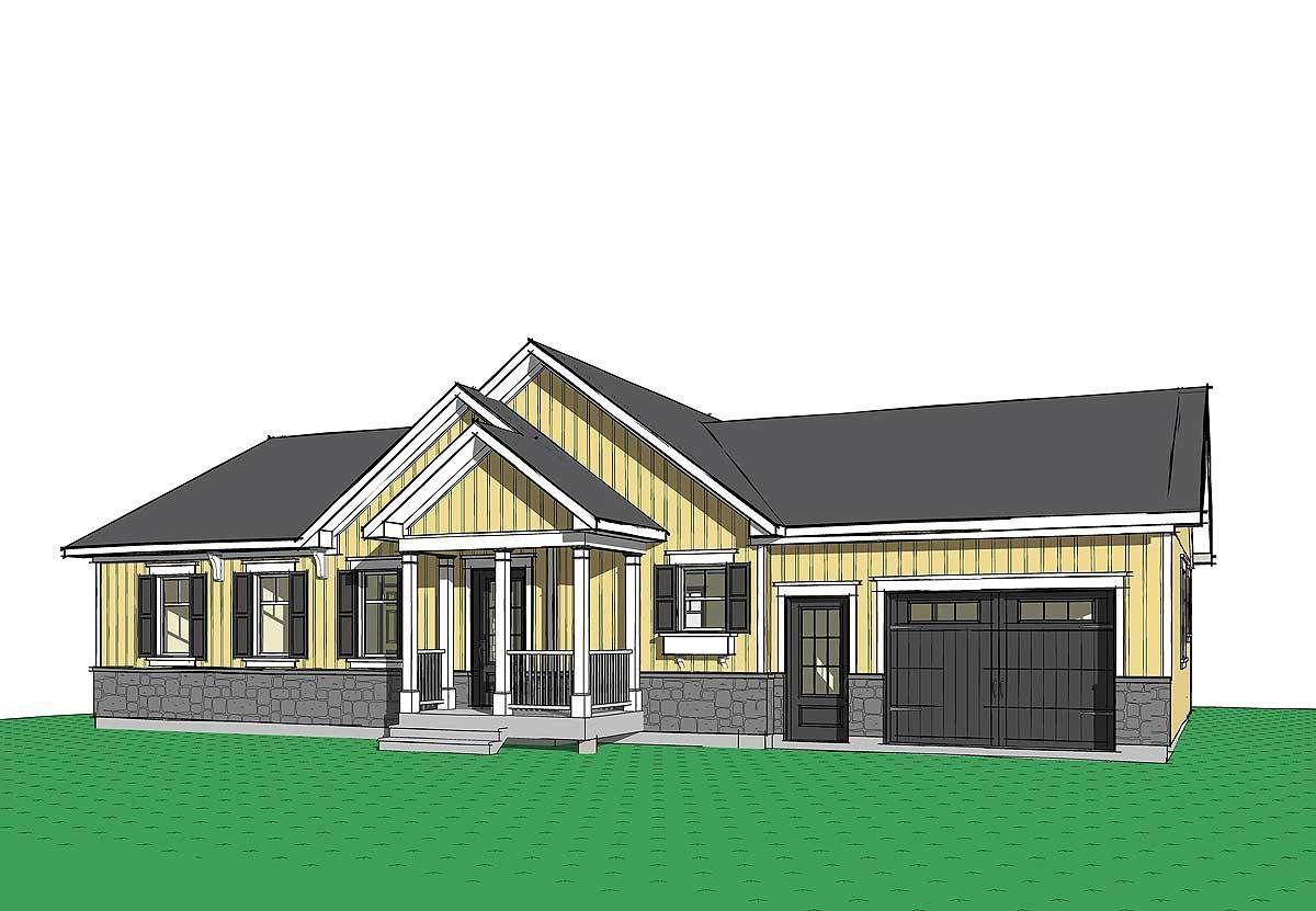 Plan 22453DR: Attractive Starter Home Plan with 1-Car Garage | Car ...