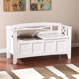 Upton Home Lima White Entryway Storage Bench - Overstock Shopping - Great Deals on Upton Home Benches & Upton Home Lima White Entryway Storage Bench - Overstock Shopping ...