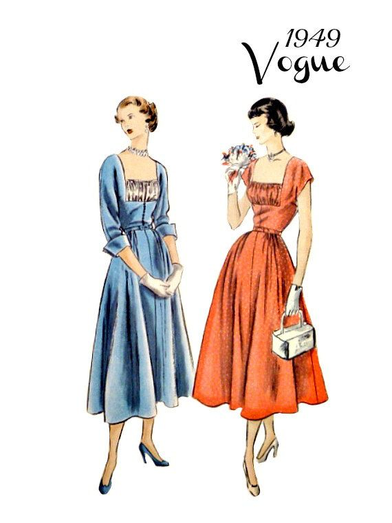40\'s Vintage Vogue 3293 Pattern Flared Dress by VintageNeedleFinds ...
