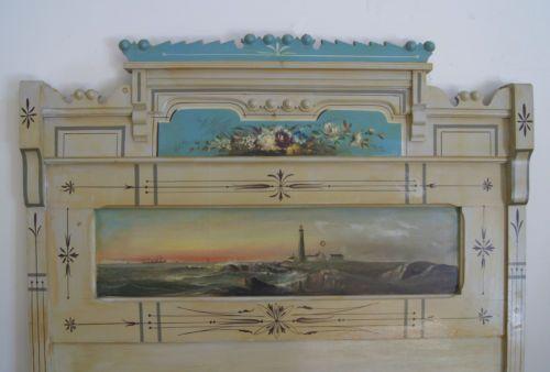 Best Hand Painted Victorian Bedroom Bed Set Lighthouse SHIP Maritime Ocean Scene | eBay