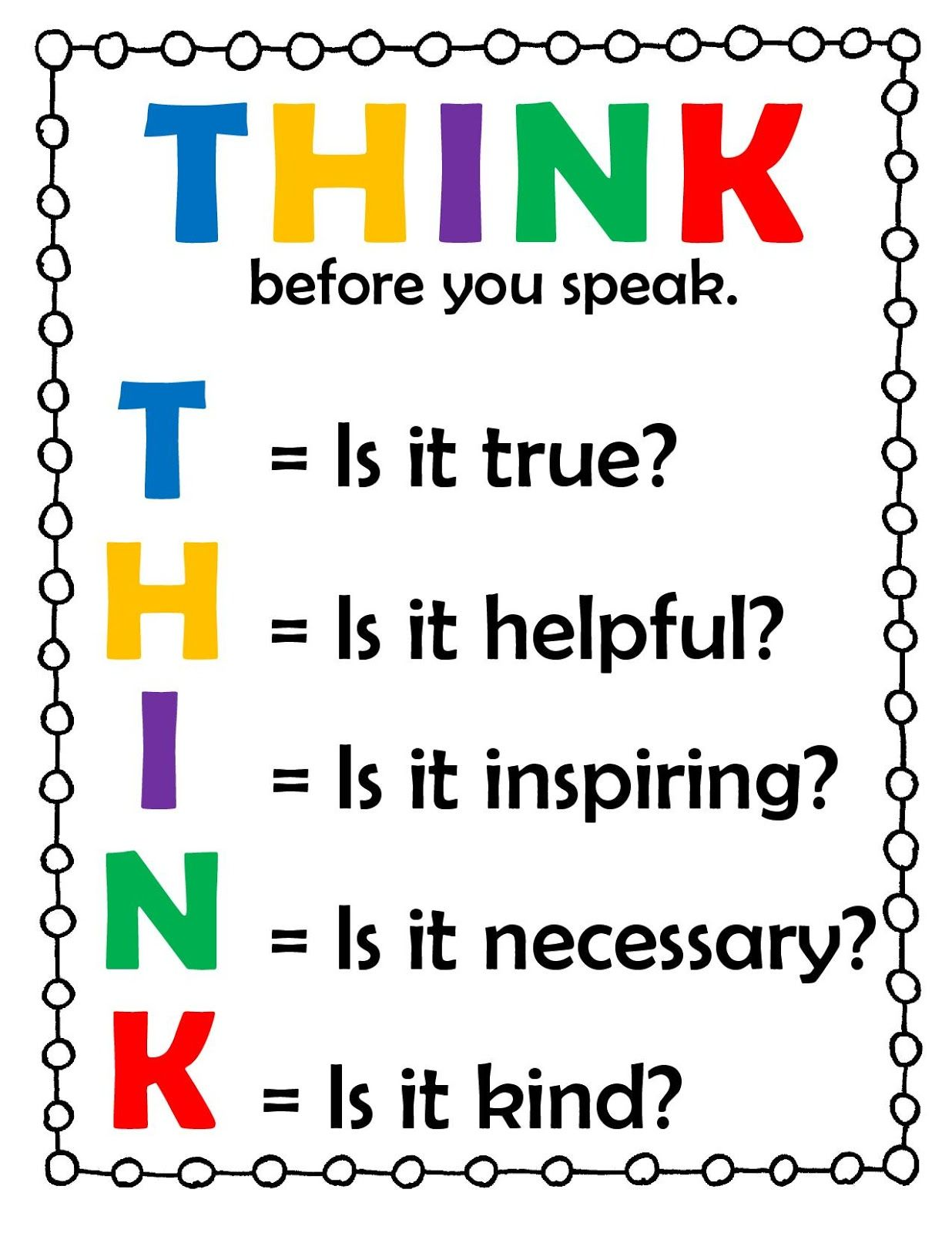 Think Before You Speak Lesson With Images
