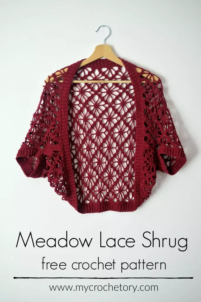 Meadow Lace Shrug free crochet pattern - Mycrochetory